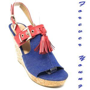 Denim Wedge Platform Sandals, HW-2649, Light Blue